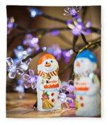 Two Chocolate Snowmen 2 Fleece Blanket