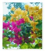 Two Color Flowers Fleece Blanket