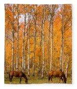Two Colorado High Country Autumn Horses Fleece Blanket