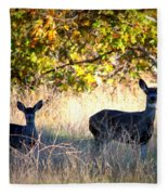 Two Deer In Autumn Meadow Fleece Blanket