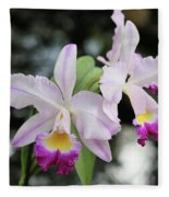 Two Delicate Orchids Fleece Blanket