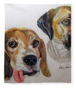 Two Dogs Fleece Blanket
