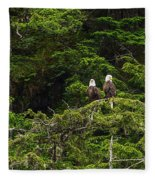 Two Eagles Perched Painterly Fleece Blanket