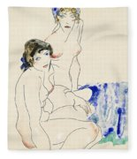 Two Female Nudes By The Water Fleece Blanket