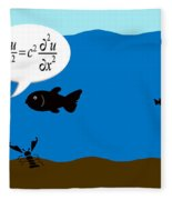 Two Fish Discuss Wave Theory. Fleece Blanket