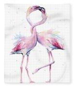 Two Flamingos Watercolor Famingo Love Fleece Blanket