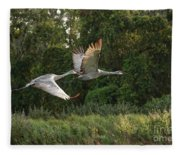 Two Florida Sandhill Cranes In Flight Fleece Blanket