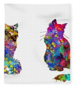 Two Fluffy Cats-colorful Fleece Blanket