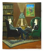 Two Gentlemen Sitting In Wingback Chairs At Private Club Fleece Blanket