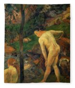 Two Girls Bathing 1887 Fleece Blanket