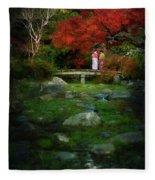 Two Girls In Kimono Standing On A Bridge In Japanese Garden In A Fleece Blanket