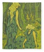 Two Girls Next To The Head Of Orpheus Fleece Blanket