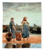 Two Girls On The Beach Fleece Blanket