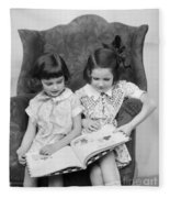 Two Girls Reading A Book, C.1920-30s Fleece Blanket