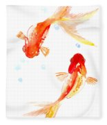 Two Goldfish Feng Shui Fleece Blanket