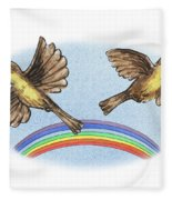 Two Happy Birds Fleece Blanket