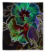 Two Hibiscus Glowing Edges Abstract Fleece Blanket