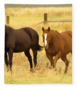 Two Horses In A Field Fleece Blanket