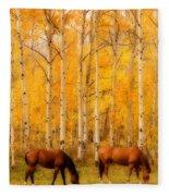 Two Horses In The Autumn Colors Fleece Blanket