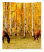 Two Horses In The Colorado Fall Foliage Fleece Blanket