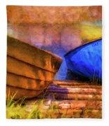 Two Idle Boats Fleece Blanket