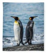 Two King Penguins Facing In Opposite Directions Fleece Blanket