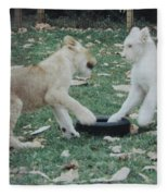 Two Lion Cubs Playing Fleece Blanket