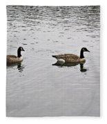 Two Lovely Canadian Geese Fleece Blanket