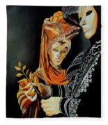 Two Masks In Venice  Fleece Blanket
