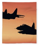 Two Migs At Sunset Fleece Blanket