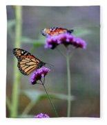 Two Monarchs On Verbena Fleece Blanket