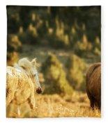 Two Mustangs Post Playtime At The Waterhole Fleece Blanket