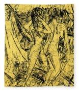 Two Nudes At The Window Fleece Blanket