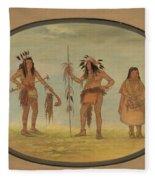 Two Ojibbeway Warriors And A Woman Fleece Blanket