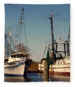 Two Old Shrimpboats Fleece Blanket