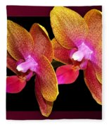 Two Orchids And A Bud Fleece Blanket