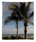 Two Palms And The Gulf Of Mexico Fleece Blanket