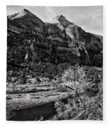 Two Peaks - Bw Fleece Blanket