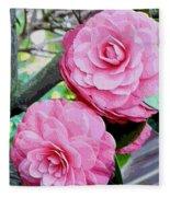 Two Pink Camellias - Digital Art Fleece Blanket