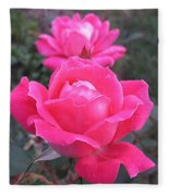 Two Pink Double Roses Fleece Blanket