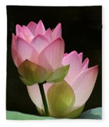 Two Pink Lotus Fleece Blanket