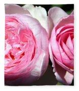 Two Pink Roses Fleece Blanket