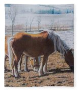 Two Ponies In The Snow Fleece Blanket