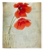 Two Poppies In A Glass Vase Fleece Blanket
