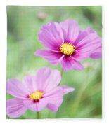 Two Purple Cosmos Flowers Fleece Blanket