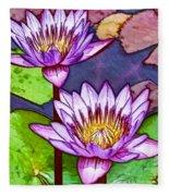 Two Purple Lotus Flower Fleece Blanket