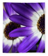 Two Purple N White Daisies Fleece Blanket
