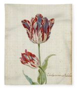 Two Red And White Tulips. Colombijn And Wit Van Poelenburg Fleece Blanket