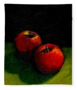 Two Red Apples Still Life Fleece Blanket