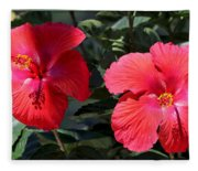 Two Red Hibiscus With Border Fleece Blanket